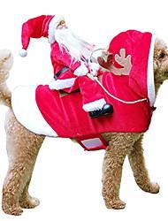 رخيصةأون -الحيوانات الأليفة سانتا عيد الميلاد ازياء سانتا الكلب زي الكلب الملابس الدافئة الطرف خلع الملابس الملابس للكلاب القطط الحيوانات الأليفة دعوى الملابس الحيوانية