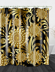 cheap -Elegant And Noble Golden Flowers Digital Print Waterproof Fabric Shower Curtain For Bathroom Home Decor Covered Bathtub Curtains Liner Includes With Hooks