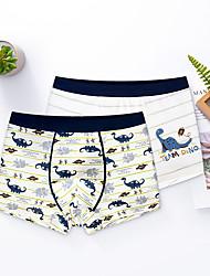 cheap -Kids Boys' Underwear 2 Pieces Blue Yellow White Dinosaur Print Cotton Basic