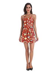 povoljno -Žene Haljina A-kroja Mini haljina - Bez rukávů Print Print Jesen Ležerne prilike Dnevno 2020 žuta S M L XL