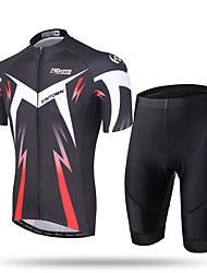 cheap -21Grams Men's Short Sleeve Cycling Jersey with Shorts Coolmax® Mesh Spandex Green and Black Black / Red Novelty Bike Shorts Pants / Trousers Jersey Breathable 3D Pad Quick Dry Ultraviolet Resistant