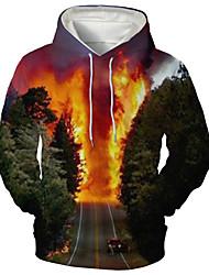 cheap -Men's Hoodie Trees / Leaves Graphic Daily Going out 3D Print Casual Hoodies Sweatshirts  Green