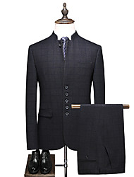 cheap -Tuxedos Tailored Fit / Standard Fit Mandarin Single Breasted More-button Cotton Blend / Cotton / Polyester Plaid / Check