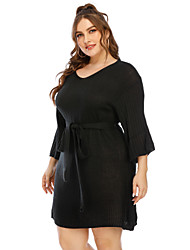 cheap -Women's Sweater Jumper Dress Knee Length Dress - 3/4 Length Sleeve Solid Color Mesh Fall Winter V Neck Plus Size Casual Elegant Going out Flare Cuff Sleeve 2020 Black XL XXL 3XL