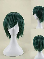 cheap -My Hero Academia Midoriya Izuku Cosplay Wigs Unisex Layered Haircut 12 inch Heat Resistant Fiber Curly Green Teen Adults' Anime Wig