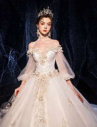 cheap -Ball Gown Wedding Dresses V Neck Cathedral Train Organza 3/4 Length Sleeve Formal Sparkle & Shine Elegant with Beading Appliques 2020