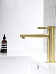 cheap -Bathroom Sink Faucet - Chrome / Brushed Gold / Black Or White Painted Finishes Centerset Single Handle One Hole Bath Mixer Taps Deck Mounted Vessel Vanity Basin Faucet