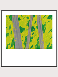cheap -Framed Art Print Abstract  Hand - Drawn Painting Green Forest Wall Art Modern Home Decoration Ready To Hang