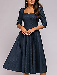 cheap -Women's A-Line Dress Knee Length Dress Half Sleeve Print Ruched Patchwork Bow Fall Hot Casual 2021 Black Blue S M L XL XXL