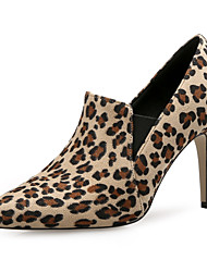 cheap -Women's Heels Stiletto Heel Pointed Toe Basic Vintage Minimalism Daily Office & Career Leopard Suede Booties / Ankle Boots Almond / Brown