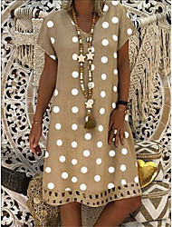 cheap -Women's Sundress Knee Length Dress Yellow Army Green Khaki Black Red Light Blue Sleeveless Polka Dot Print Summer V Neck Hot Casual 2021 S M L XL XXL 3XL 4XL
