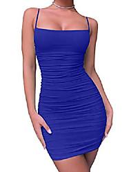 cheap -women's sexy bodycon spaghetti strap ruched mini club dresses,x-large,royal blue