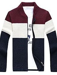 billige -Herre Farveblok Cardigan Langærmet Sweater Cardigans V-hals Vin Navyblå Grå