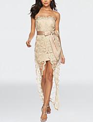 cheap -Women's A-Line Dress Maxi long Dress - Sleeveless Print Lace Layered Mesh Summer Strapless Sexy Party Club Slim 2020 Black Gold S M L XL XXL