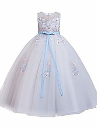 cheap -Flower girl kid princess bow a-line floor length birthday dance evening ball gown white blue 3-4 years