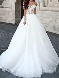 cheap -Ball Gown Wedding Dresses Sweetheart Neckline Court Train Lace Tulle Sleeveless Country with Appliques 2021