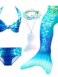 cheap -Girls Swimsuits Mermaid for Swimming Mermaid Costume Bikini Set for Big Girls Birthday Gift 3-14 Years