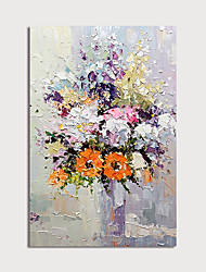 cheap -Oil Painting Hand Painted Abstract Floral / Botanical Modern Stretched Canvas With Stretched Frame