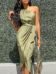 cheap -Women's Wrap Dress Midi Dress - Sleeveless One Shoulder Hot Sexy Slim 2020 Army Green S M L XL