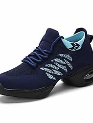 cheap -women's jazz shoes lace-up sneakers - breathable air cushion lady split sole athletic walking dance shoes platform womens ballroom dance sneakers(6 women,dark blue)