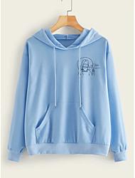 cheap -Women's Pullover Hoodie Sweatshirt Character Basic Hoodies Sweatshirts  Blue