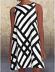 cheap -Women's A-Line Dress Knee Length Dress - Sleeveless Striped Solid Color Print Summer Hot Casual 2021 Black Khaki S M L XL XXL 3XL