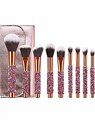 cheap -prime deals day deals sale 2020-10 pcs luxury makeup brushes set with bag, bling glitter diamond-studded kabuki eye makeup brush professional foundation makeup tools christmas gifts