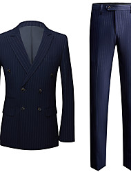 cheap -Tuxedos Standard Fit Peak Double Breasted Six-buttons Polyester Striped