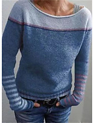 cheap -Women's Stylish Stripe Knitted Striped Sweater Long Sleeve Sweater Cardigans Boat Neck Fall Winter Rainbow