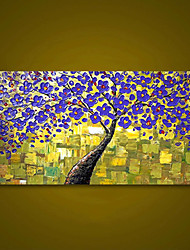 cheap -Unframed Purple Tree Flower Hand Painted Palette Knife Oil Painting Modern Wall Art Home Decor Large Painting For Living Room Rolled Without Frame