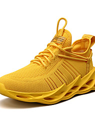 cheap -Men's Trainers Athletic Shoes Sporty Casual Athletic Daily Running Shoes Walking Shoes Mesh Tissage Volant Breathable Non-slipping Shock Absorbing White Black Yellow Slogan Summer Fall