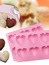cheap -1 Pack Diamond Heart Silicone Mold, 6 Cavities Non-stick Easy Release Heart Shaped Silicone Mold Tray for Handmade Chocolate, Mousse Cake Baking, Dessert, Biscuit and Soap
