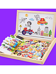 cheap -1 pcs Drawing Toy Drawing Tablet Jigsaw Puzzle Educational Toy Magnetic Easel Magnetic Novelty Wood Kid's Toy Gift