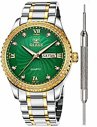cheap -green dial diamond watches for men waterproof mens best fashion business casual watch calendar week analog quartz watch stainless steel classic wrist watch christmas
