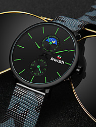 cheap -SWISH Men's Steel Band Watches Quartz Modern Style Sporty Casual Water Resistant / Waterproof Analog Red Green Black / White / Stainless Steel