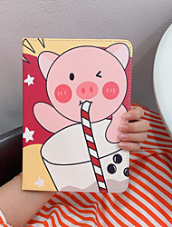 cheap -Case For Apple iPad  Mini 3 2 1 iPad Mini 4 iPad Mini 5 with Stand Flip Full Body Cases PU Leather TPU Protective Stand Cover Pattern cute lovely word phrase pig rabbit elephant drink