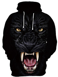 cheap -Men's Pullover Hoodie Sweatshirt Cartoon 3D Wolf Event / Party Festival 3D Print Basic Casual Hoodies Sweatshirts  Black And White Black / White Black