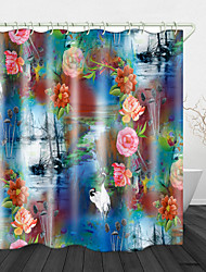cheap -Oil Painting Landscape And Flowers Beauty Digital Print Waterproof Fabric Shower Curtain For Bathroom Home Decor Covered Bathtub Curtains Liner Includes With Hooks