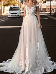 cheap -A-Line Wedding Dresses V Neck Sweep / Brush Train Tulle Sleeveless Country with 2021