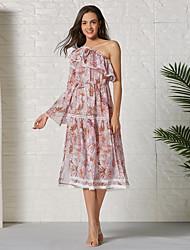 cheap -Women's Chiffon Dress Knee Length Dress - Short Sleeve Print Ruffle Ruched Patchwork Summer One Shoulder Casual Daily Slim 2020 Blushing Pink S M L XL XXL