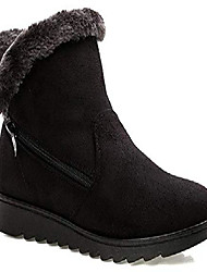 cheap -winter snow boots womens anti-slip warm fur lined ankle booties suede flat shoes grey