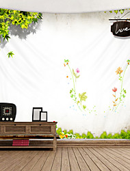 cheap -Fresh Green Leaves and flowers Digital Printed Tapestry Decor Wall Art Tablecloths Bedspread Picnic Blanket Beach Throw Tapestries Colorful Bedroom Hall Dorm Living Room Hanging