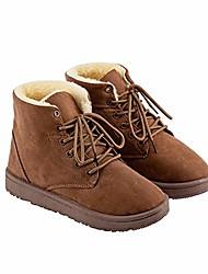 cheap -deals flat snow boots lace up - for women - warm ladies platform shoes - women& #39;s ankle boots & #40;6, brown& #41;