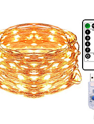 cheap -10M 100LED Copper Wire String Lights Outdoor String Lights USB Plug-in Fairy Lights With Remote 8 Modes Lights Waterproof Remote Control Timer Christmas Wedding Birthday Family Party Room Valentine's