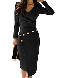 cheap -Women's Sheath Dress Knee Length Dress - Long Sleeve Solid Color Ruched Button Fall Winter V Neck Hot Casual Sexy Going out Slim 2020 White Black Blue Red Khaki S M L XL