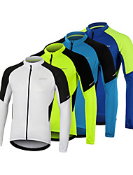 cheap -Arsuxeo Men's Long Sleeve Cycling Jersey White Blue Green Bike Jersey Top Mountain Bike MTB Road Bike Cycling Breathable Quick Dry Sports Clothing Apparel / Micro-elastic