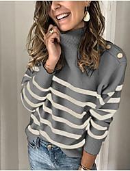 cheap -Women's Basic Stripe Striped Pullover Long Sleeve Sweater Cardigans Turtleneck Spring Winter Khaki Beige Gray