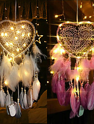 cheap -LED Boho Dream Catcher Handmade Gift Wall Hanging Decor Art Ornament Craft Heart Bead Feather 15*60cm For Kids Bedroom Wedding Festival