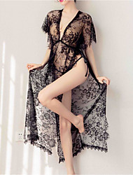 cheap -Women's Lace Mesh Babydoll & Slips Nightwear Floral Solid Colored Black One-Size