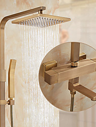 cheap -Shower Set Set - Handshower Included pullout Rainfall Shower Antique / Traditional Antique Brass Wall Mounted Ceramic Valve Bath Shower Mixer Taps